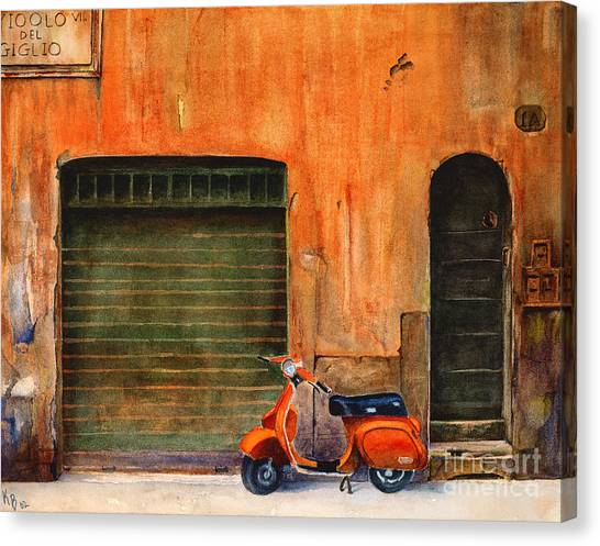 The Orange Vespa Canvas Print