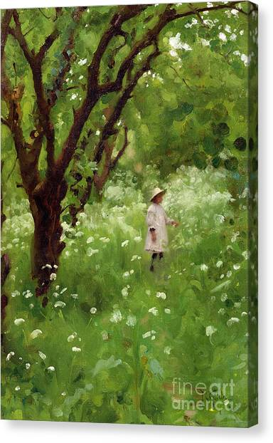 Wild Orchards Canvas Print - The Orchard  by Thomas Cooper Gotch