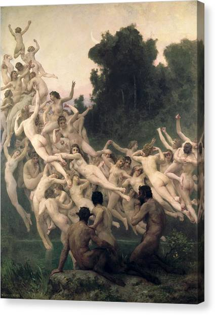 Fantasy Cave Canvas Print - The Oreads by William-Adolphe Bouguereau