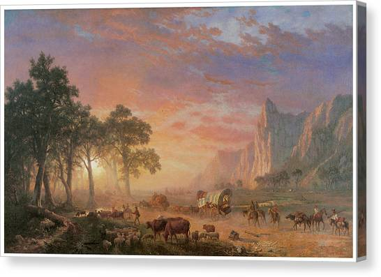 The Oregon Trail Canvas Print by Albert Bierstadt