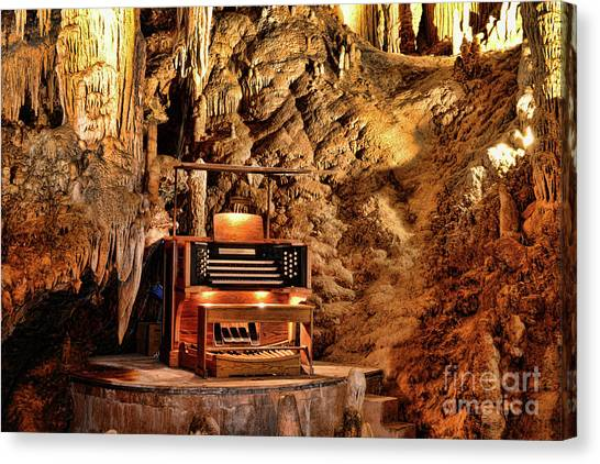 Stalagmites Canvas Print - The Organ In Luray Caverns by Paul Ward