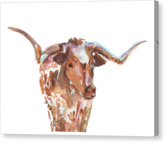 The Original Longhorn Standing Earth Quack Watercolor Painting By Kmcelwaine Canvas Print