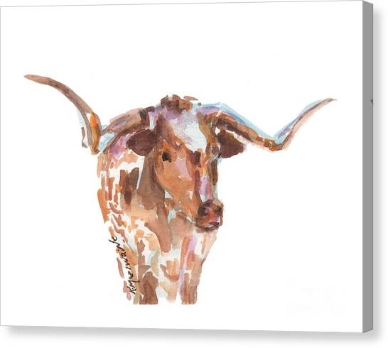 Cow Canvas Print - The Original Longhorn Standing Earth Quack Watercolor Painting By Kmcelwaine by Kathleen McElwaine