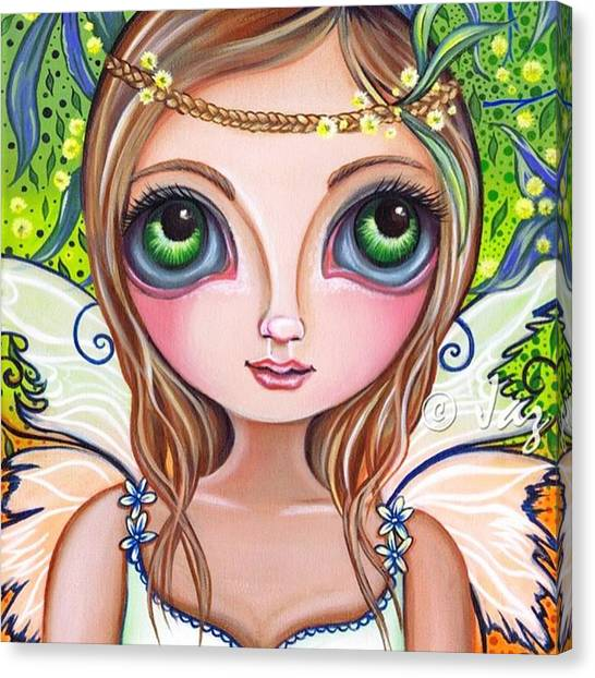 Fairy Canvas Print - The Original wattle Fairy Painting by Jaz Higgins