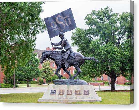 Oklahoma State University Canvas Print - The Osu Spirt Rider At Oklahoma State University by Ken Wolter