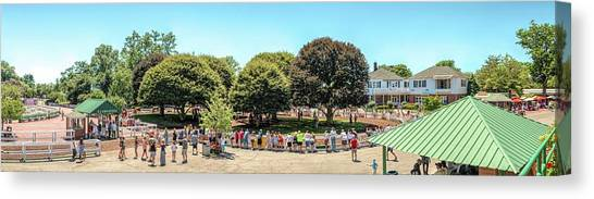 Canvas Print featuring the photograph The Paddock Area At Monmouth Park by Kristia Adams