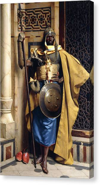 Muslim Canvas Print - The Palace Guard by Ludwig Deutsch