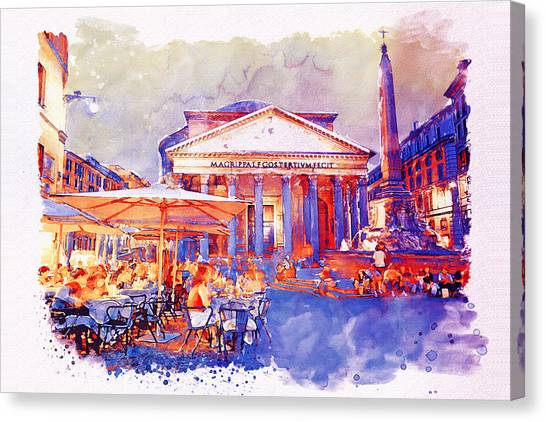 Empire Canvas Print - The Pantheon Rome Watercolor Streetscape by Marian Voicu