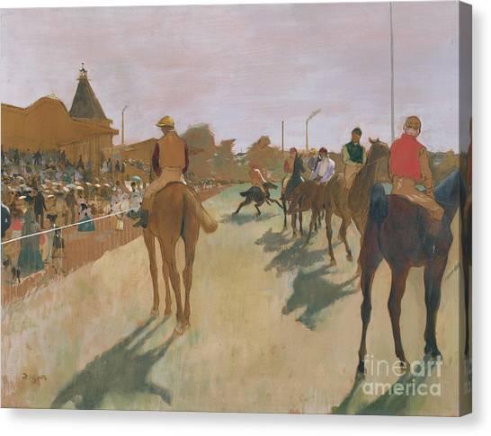 Race Horses Canvas Print - The Parade by Edgar Degas