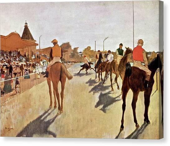 Taylor Swift Canvas Print - The Parade, Digitally Enhanced Highest Resolution,race Horses In Front Of The Tribune, Edgar Degas by Edgar Degas