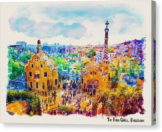 Mustard Canvas Print - Park Guell Barcelona by Marian Voicu