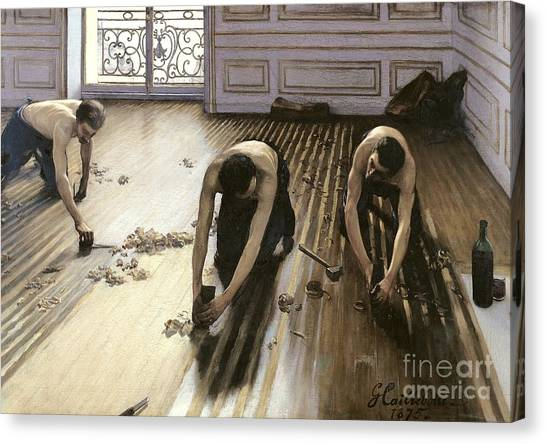 Industry Canvas Print - The Parquet Planers by Gustave Caillebotte