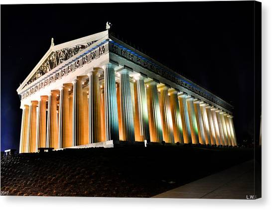 The Parthenon Canvas Print - The Parthenon In Nashville Tennessee At Night 2 by Lisa Wooten