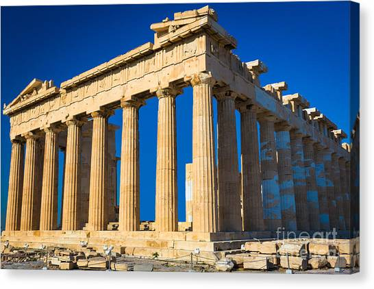 Greece Canvas Print - The Parthenon by Inge Johnsson
