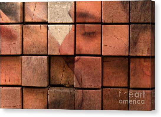 Abstract Nude Canvas Print - The Passion Of A Kiss 2 by Mark Ashkenazi