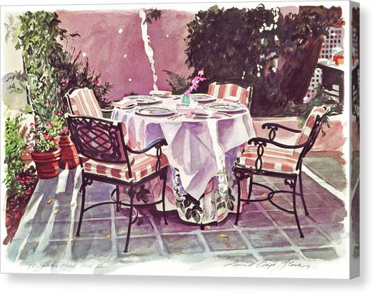 Dinner Table Canvas Print - The Patio - Hotel Bel-air  by David Lloyd Glover