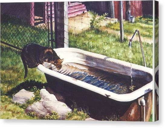 The Paws That Refreshes Canvas Print by Marion  Hylton