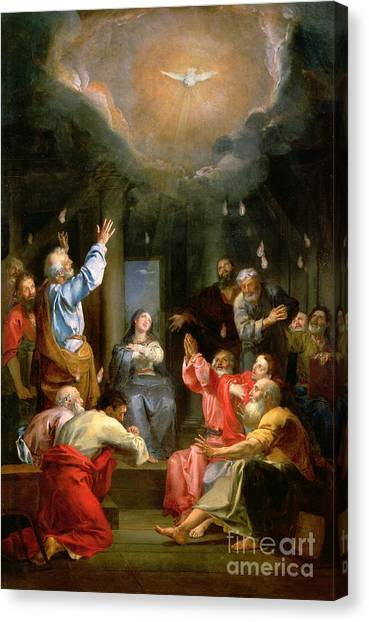 Virgin Mary Canvas Print - The Pentecost by Louis Galloche