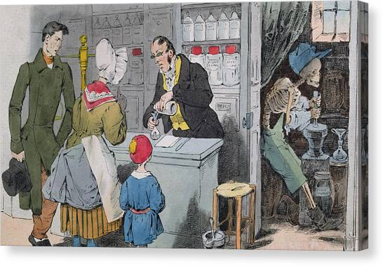 Apothecaries Canvas Print - The Pharmacist And His Assistant by Grandville