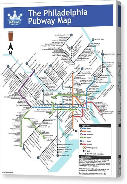 Liberty University Canvas Print - The Philadelphia Pubway Map by Unquestionable Taste