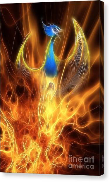 Mythological Creatures Canvas Print - The Phoenix Rises From The Ashes by John Edwards