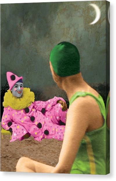 The Pierrot Finally Mentions His Wedding Ring Canvas Print by Max Scratchmann