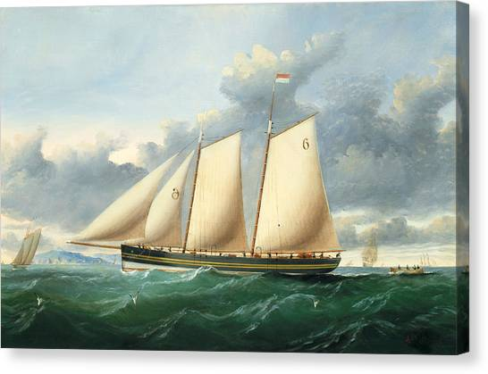 Schooner Canvas Print - The Pilot Schooner Pioneer Off Point Lynas by Charles Ogilvy
