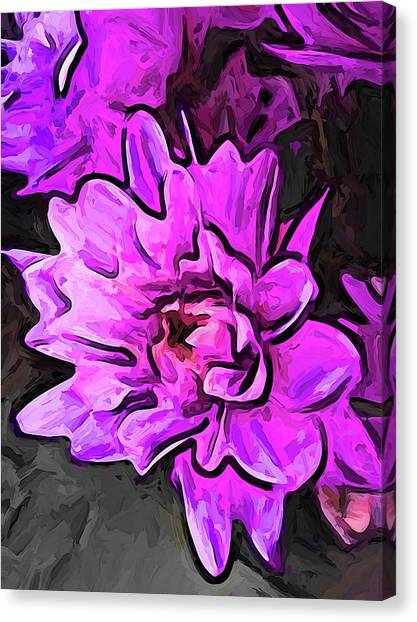 The Pink And Lavender Flowers On The Grey Surface Canvas Print