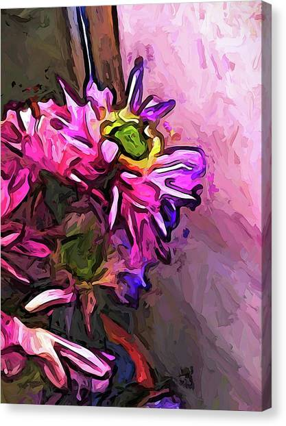The Pink And Purple Flower By The Pale Pink Wall Canvas Print