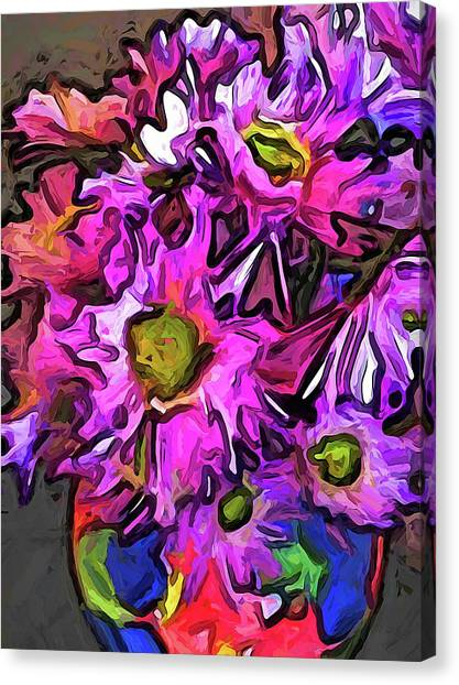 The Pink And Purple Flowers In The Red And Blue Vase Canvas Print