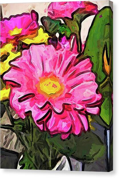 The Pink And Yellow Flowers With The Big Green Leaves Canvas Print
