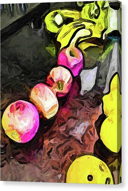 The Pink Apples In A Curve With The Yellow Lemons Canvas Print