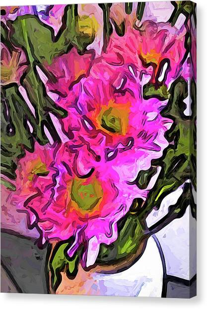The Pink Flowers In The White Vase Canvas Print