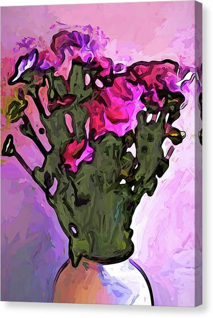 The Pink Flowers With The Long Stems In The Vase Canvas Print