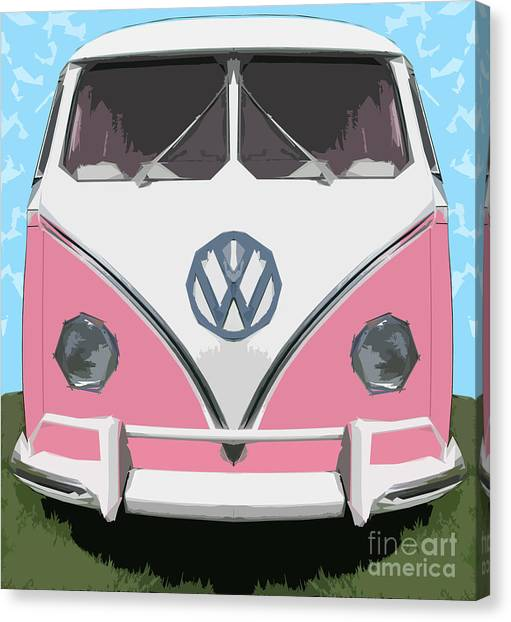 The Pink Love Bus Canvas Print