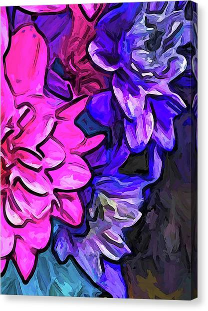The Pink Petals With The Purple And Blue Flowers Canvas Print
