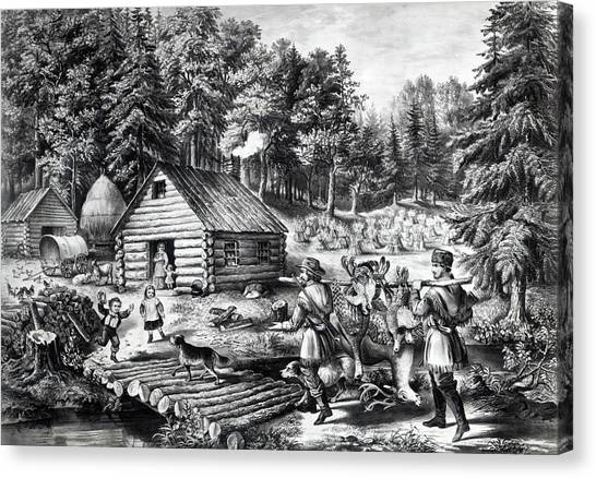Log Cabin Canvas Print - The Pioneer's Home On The Western Frontier by Currier and Ives
