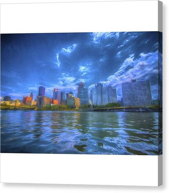 Painted Canvas Print - The Pittsburgh Skyline From The Walkway by David Haskett II