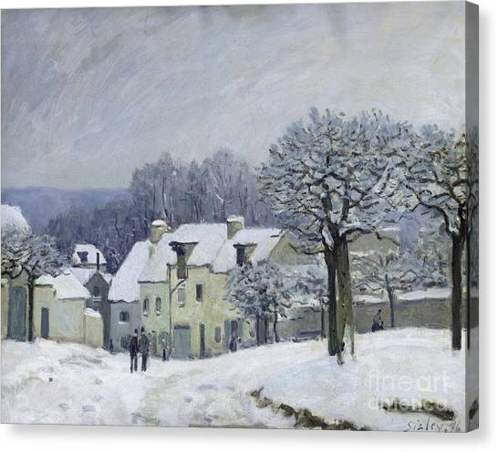 1876 Canvas Print - The Place Du Chenil At Marly Le Roi by Alfred Sisley