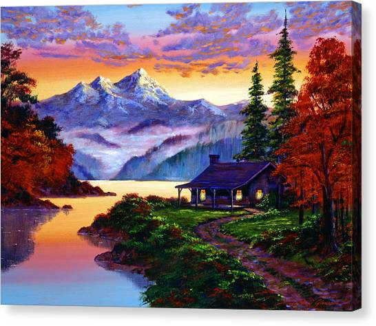 Mountain Sunsets Canvas Print - The Pleasures Of Autumn by David Lloyd Glover