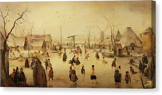 Skating Canvas Print - The Pleasures Of Winter by Hendrik Avercamp