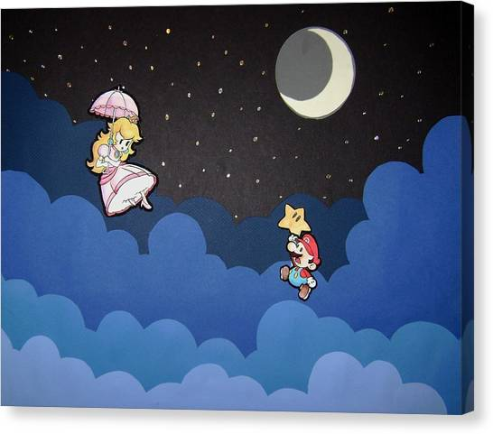 Wii Canvas Print - The Plumber And The Princess by Kenya Thompson
