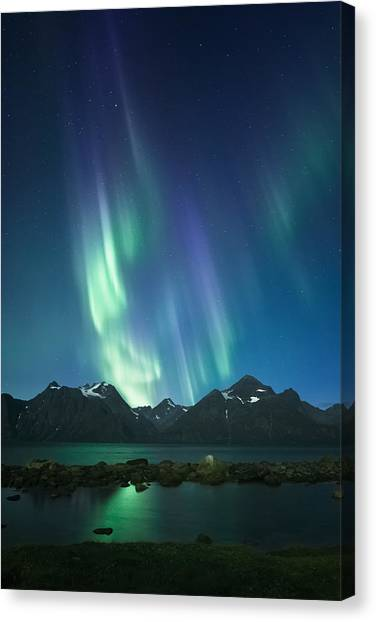 Aurora Borealis Canvas Print - The Pond And The Fjord by Tor-Ivar Naess