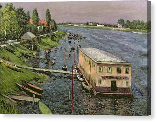Pontoon Canvas Print - The Pontoon At Argenteuil by Gustave Caillebotte
