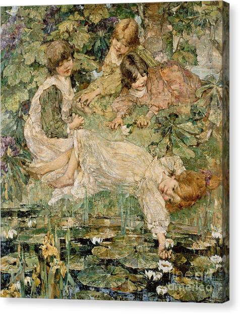 Lily Pond Canvas Print - The Pool by Edward Atkinson Hornel