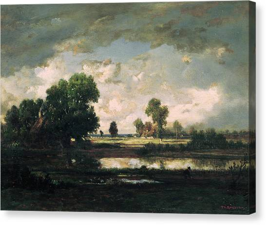 67 Canvas Print - The Pool With A Stormy Sky by Pierre Etienne Theodore Rousseau