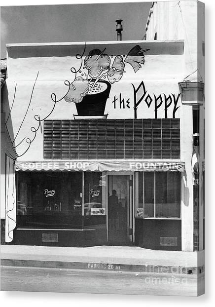 The Poppy, Coffee Shop, Fountain, Alvarado Street, Monterey Circ Canvas Print