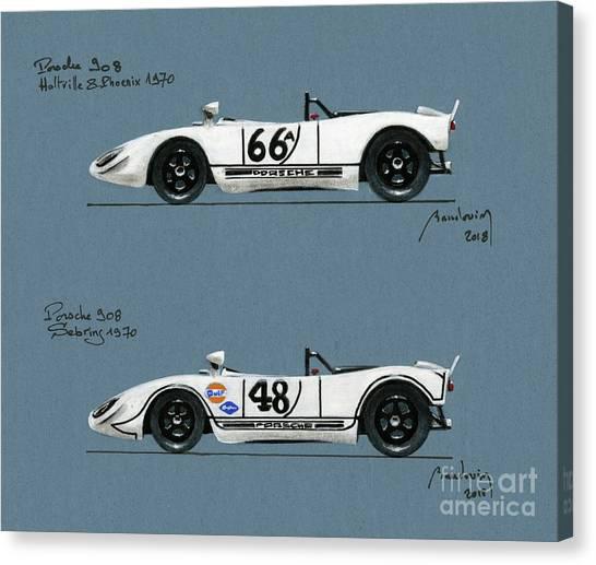 Cobra Canvas Print - The Porsche 908 Driven By Steve Mcqueen In 1970 by Alain Baudouin