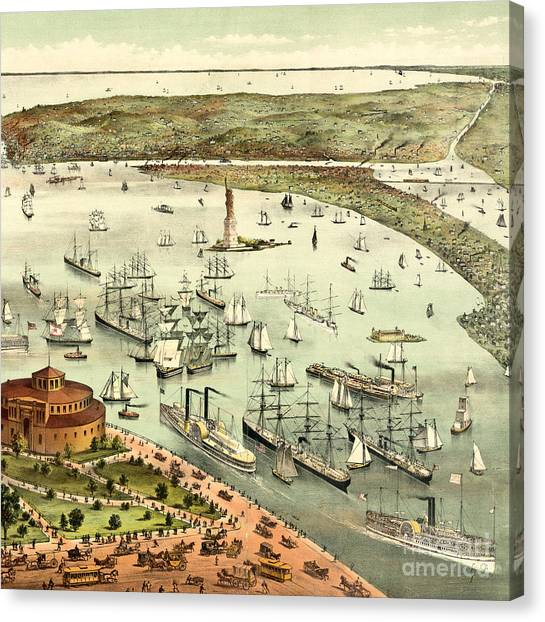 Currier And Ives Canvas Print - The Port Of New York, Birds Eye View From The Battery, Looking South, Circa 1892 by Currier and Ives