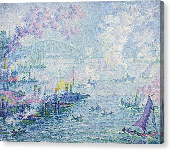 Divisionism Canvas Print - The Port Of Rotterdam by Paul Signac